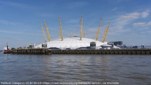The Millenium Dome which appears during the pre-title sequence of The World is Not Enough